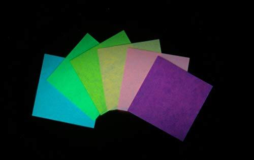 カラー蓄光折り紙 月ほたる 6色アソート 15㎝×15㎝