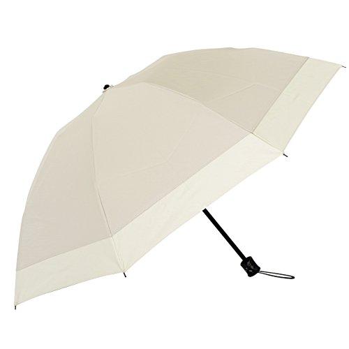 【Rose Blanc】100%完全遮光 日傘 コンビ(傘袋付) 3段折りたたみ 50cm (シャンパンベージュ×ベージュ)