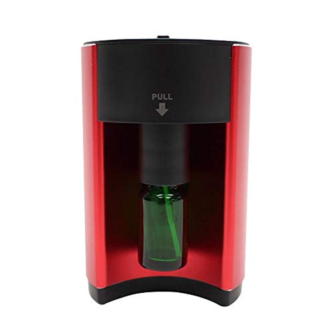 アロマディフューザー 噴霧式 自動停止 16段階モード設定 ECOモード搭載 水を使わない ネブライザー式 コンパクト AC電源式 香り 癒し レッド