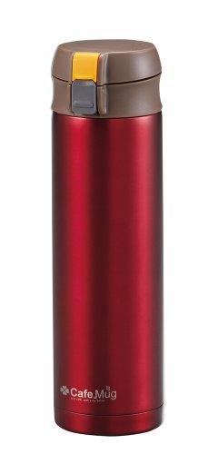 パール金属 水筒 450ml 直飲み ステンレス ワンタッチ マグ レッド カフェマグ H-7565
