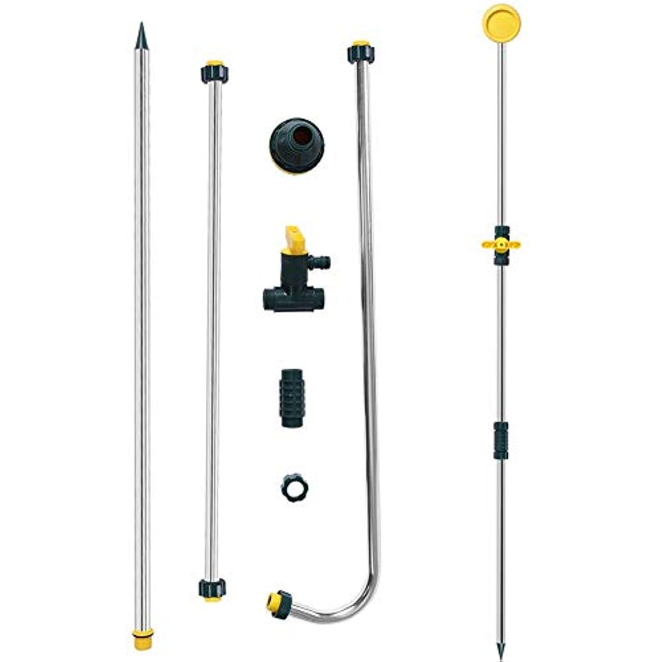 適性切断する描く屋外シャワー スタンド ホース ヘッド バックパック ポータブル 旅行キャンプ用 調節可能キット 取り外し可能 充電式