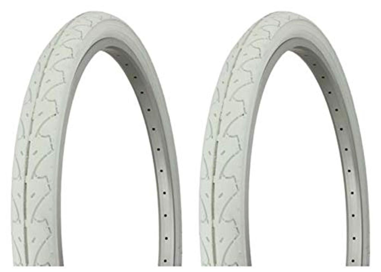 仮装スポンサー核Lowrider タイヤセット 2タイヤ 2タイヤ デュロ 26インチ x 1.95インチ ホワイト/ホワイト サイドウォール HF-105 自転車タイヤ 自転車タイヤ ビーチクルーザー バイクタイヤ クルーザーバイクタイヤ