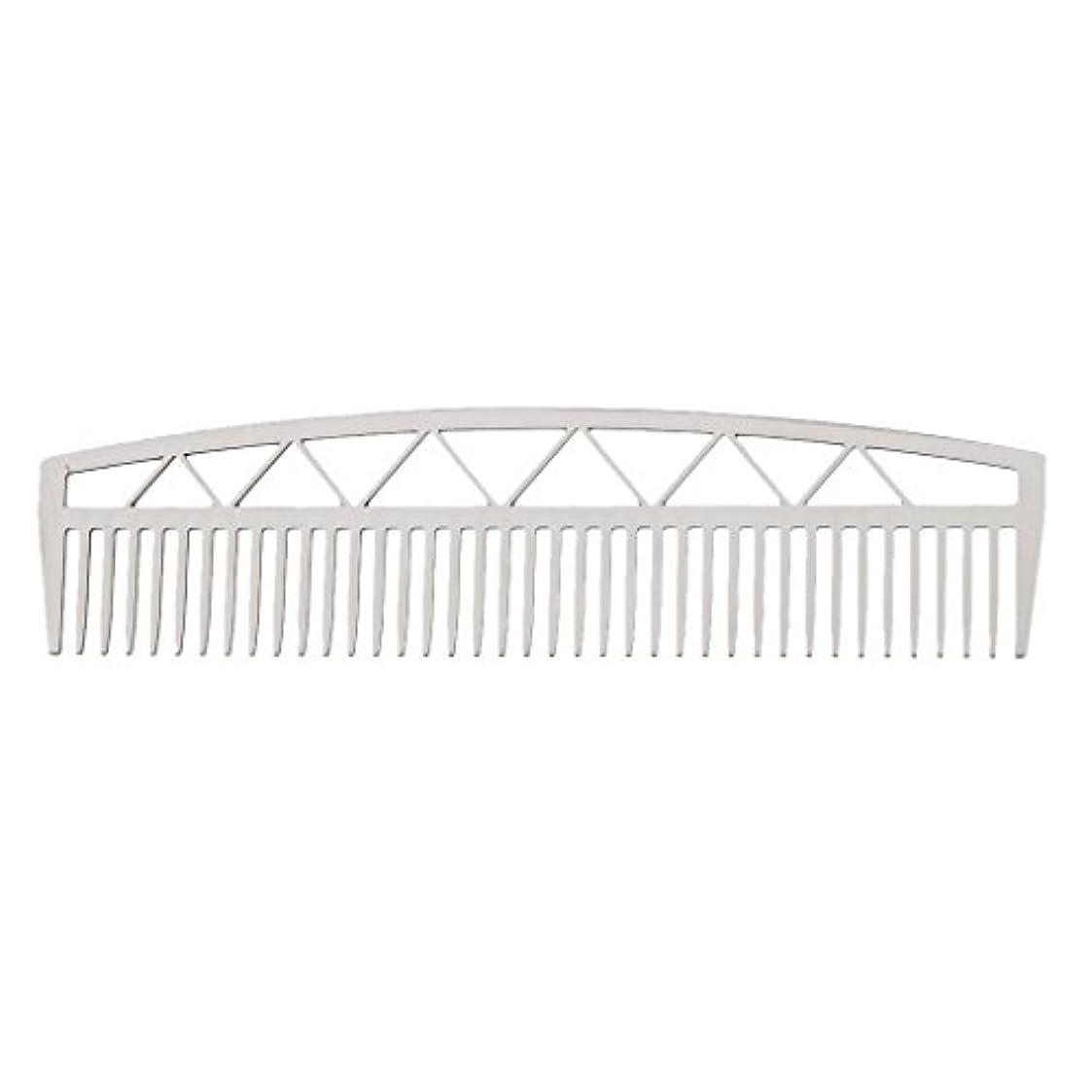 やさしい蒸留地元ビアードコーム ヘアコーム ステンレス鋼 ひげ櫛 メンズ 便利 2タイプ - #2