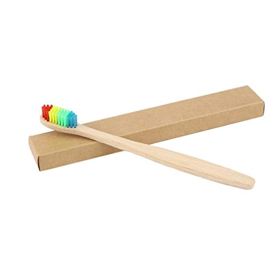 描写家禽バングカラフルな髪+竹のハンドル歯ブラシ環境木製の虹竹の歯ブラシオーラルケアソフト剛毛ユニセックス - ウッドカラー+カラフル