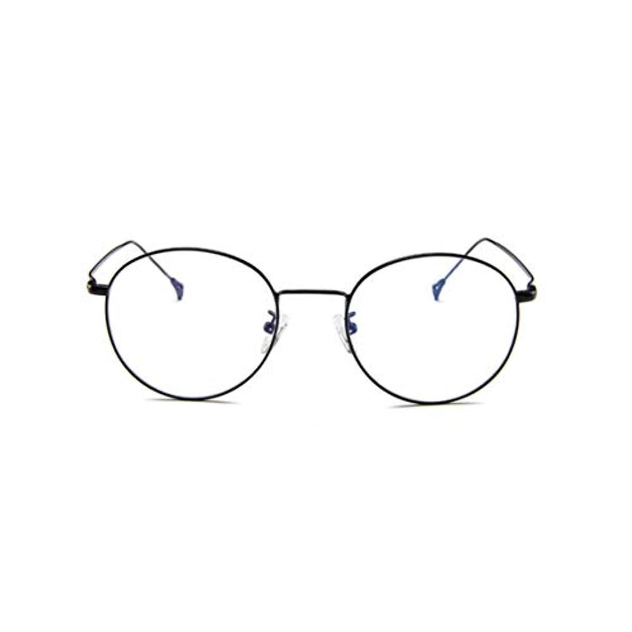放牧する請求可能砂利韓国のメガネフレームの男性と女性のレトロフラットメガネメタルトレンディメガネファッション近視メガネフレーム-ブラック