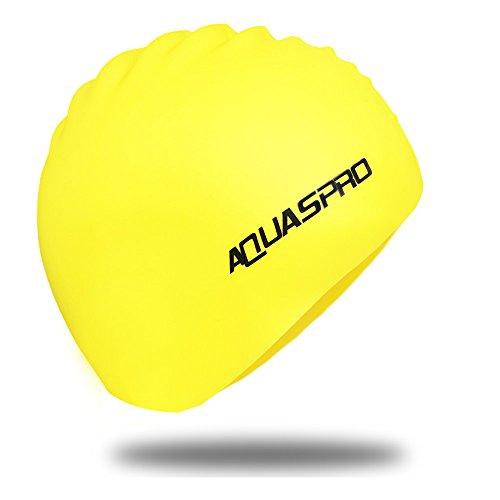 [해외]수영 모자 실리콘 수영 모자 전문 수영 모자 긴 머리 여성의 수영모 무공해 실리카겔 재료 고탄성 내구성 남녀 공용 국내 정품 AQUASPRO (Black Yellow White Pink)/Swimming cap Silicone Swimming cap specialized swimming cap long hair female ...