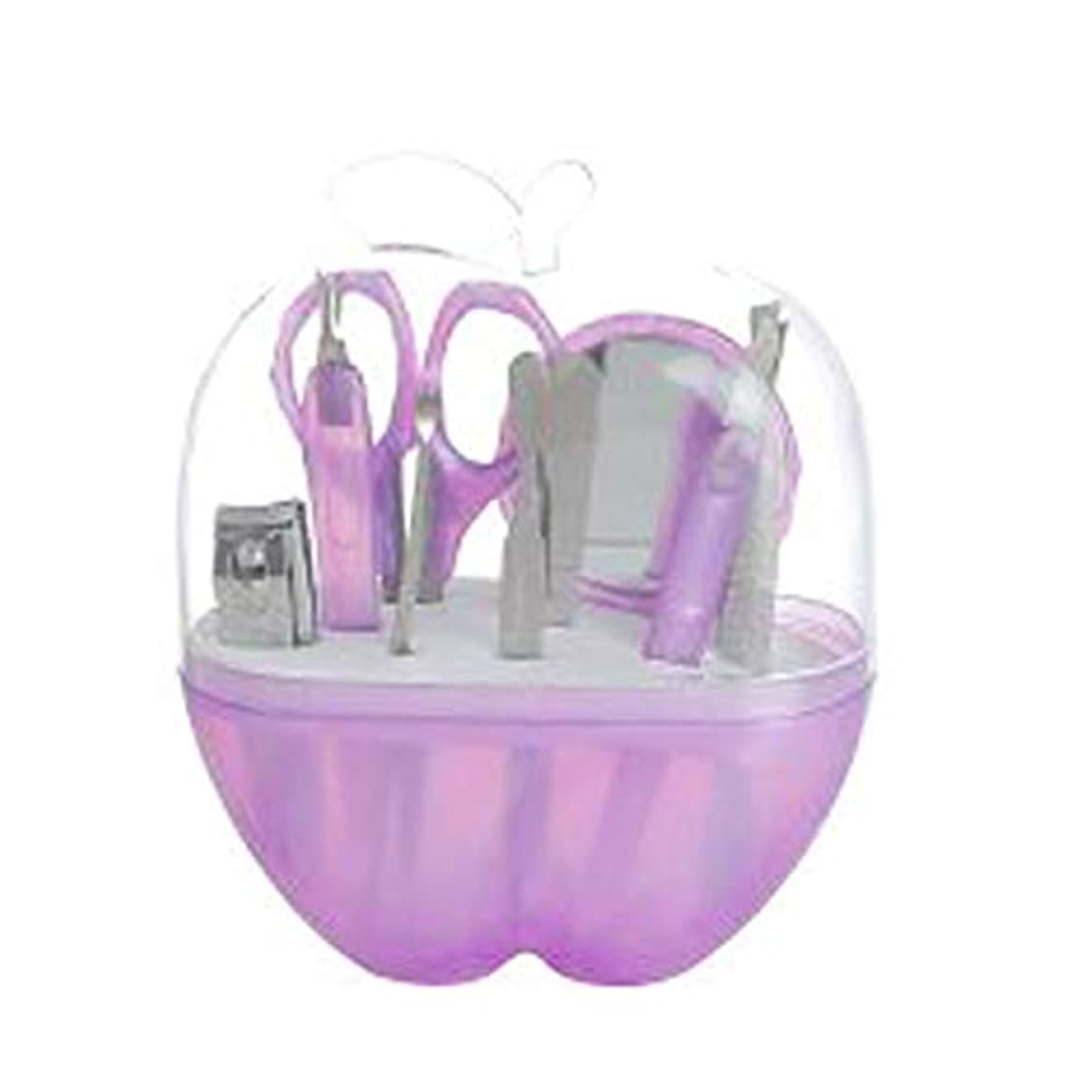 受け皿読みやすさ種9単語ネイルはさみペディキュアナイフマニキュアセットと紫のリンゴの形の収納ケース