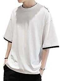 [meryueru(メリュエル)] 七分袖 フェイクレイヤード バイカラー カットソー カジュアル トレーナー トップス メンズ