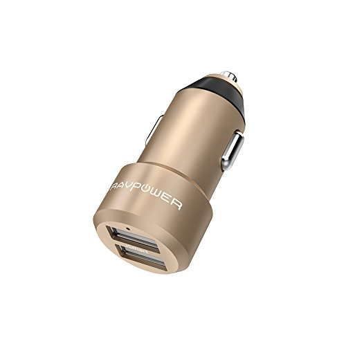 RAVPower USBカーチャージャー 2ポート ( 24W 4.8A 、12V・24V車対応) iPhone Android スマホ タブレット 急速充電 iSmart機能搭載 ゴールド
