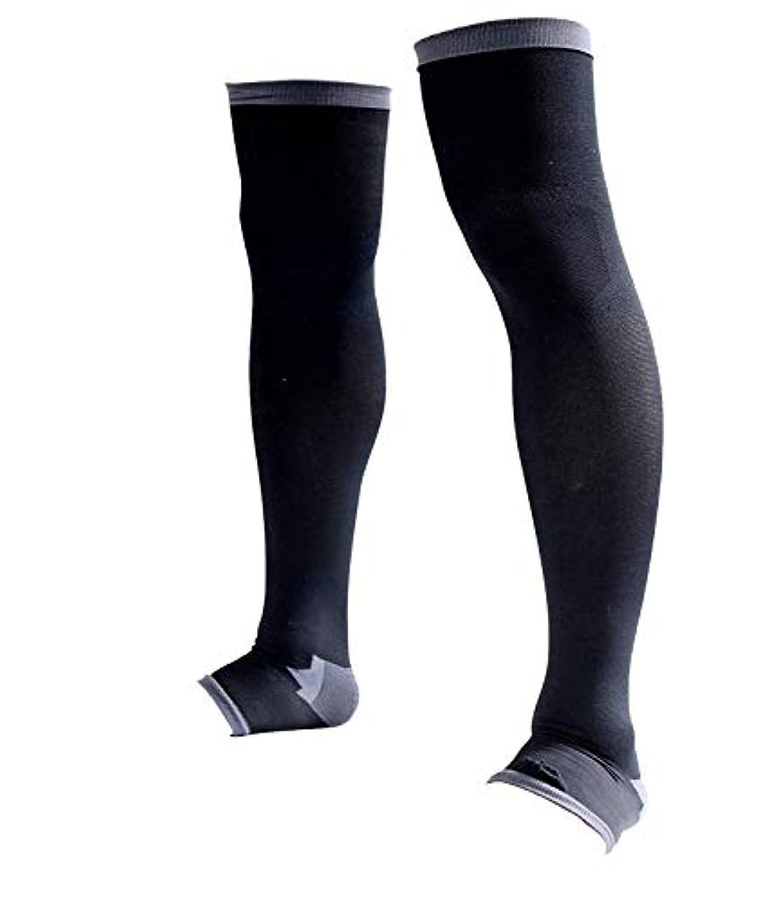事前熱狂的な安価な男性専用脚すっきり対策オープントゥ着圧ソックス 膝上 M-L 順天堂大学客員教授推奨