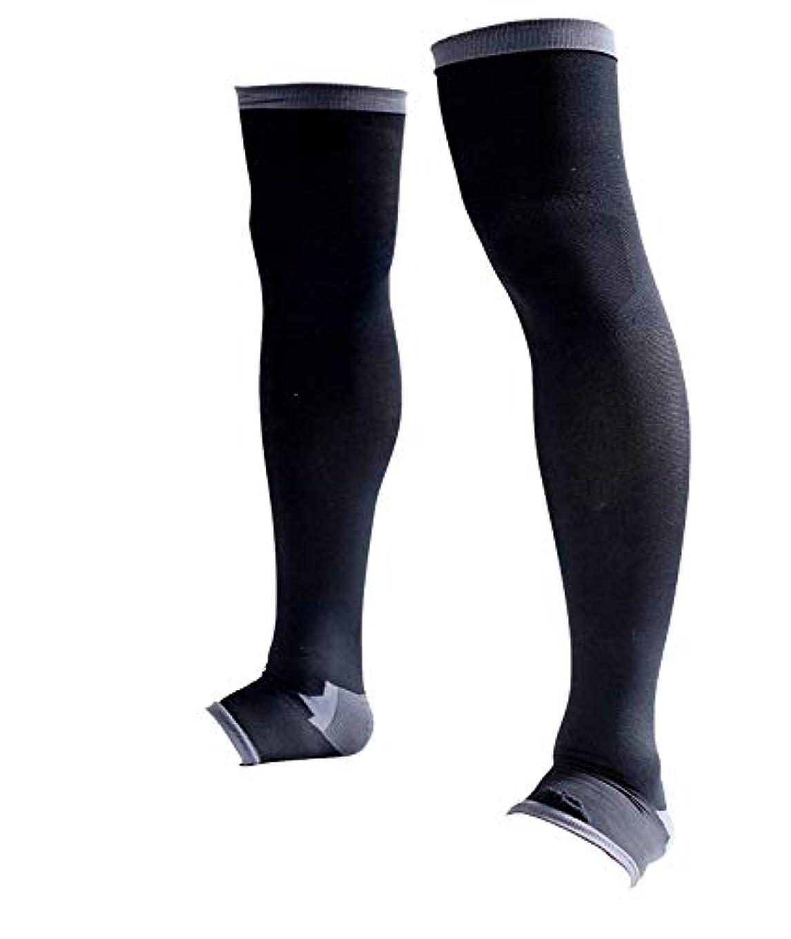 信頼性盆地思慮のない男性専用脚すっきり対策オープントゥ着圧ソックス 膝上 L-LL 順天堂大学客員教授推奨