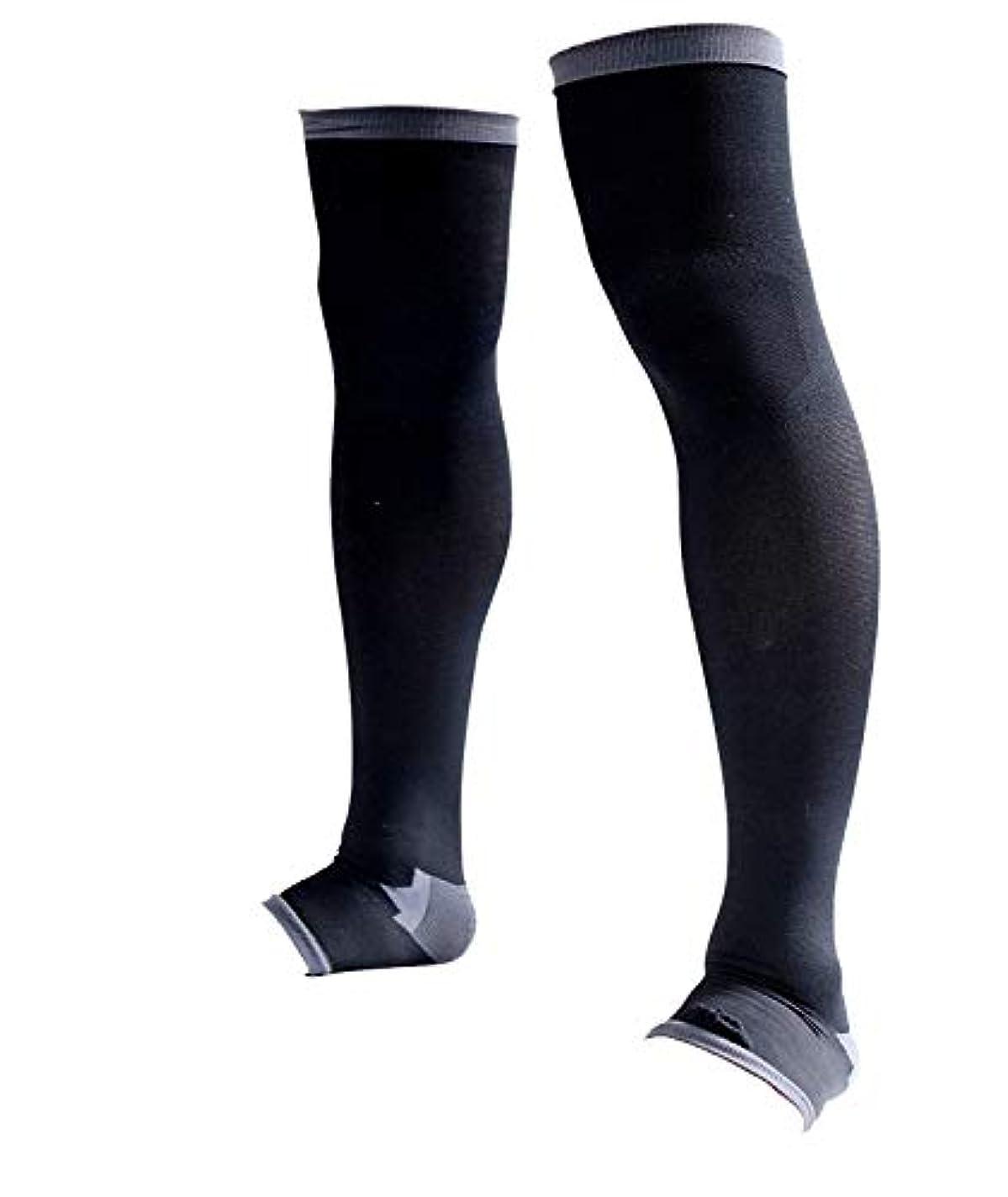 節約するアクションバランスのとれた男性専用脚すっきり対策オープントゥ着圧ソックス 膝上 M-L 順天堂大学客員教授推奨