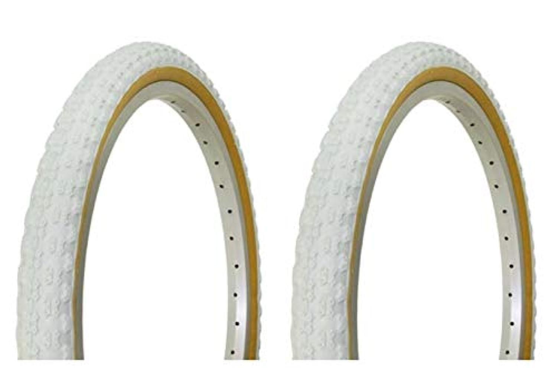 Lowrider タイヤセット 2タイヤ 2タイヤ デュロ 20インチ x 1.75インチ ホワイト/ガム サイドウォールバイクタイヤ 自転車タイヤ BMXバイクタイヤ チョッパーバイクタイヤ