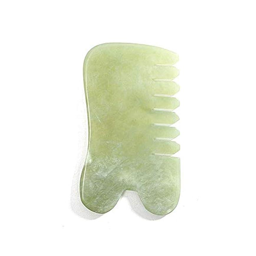 法律メディアびっくりしたEcho & Kern 翡翠(ジェイド)櫛 美顔天然石かっさプレートNatural Jade comb for Body Face SPA Acupuncture Therapy Trigger Point Treatment