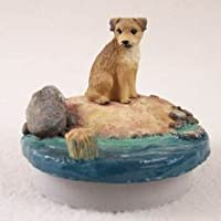 "会話概念ミニチュアBorder Terrier CandleトッパーTiny One "" A Day on the beach "" ( Set of 3 )"