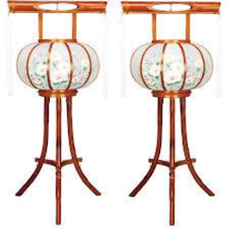 霊前灯 竹風灯 2号 花 1対(2台1組) 高さ約81cm 廻転筒付 日本製 行灯 盆提灯 八女提灯