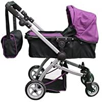 Babyboo Deluxe Doll Pram Color PURPLE & BLACK with Swiveling Wheels & Adjustable Handle and Free Carriage Bag - 9651B PRP [並行輸入品]