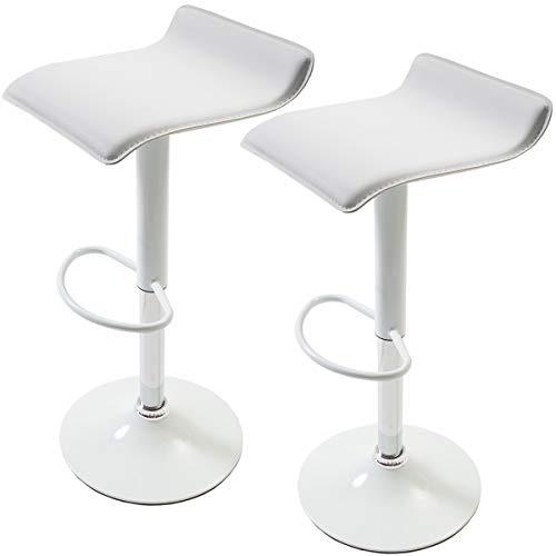 【女性に人気 軽くて使いやすいカウンターチェア(2脚セット)】 座面レザー調 軽量チェア(重さ約5kg) 昇降式 脚部も同色デザインで可愛いチェア (ホワイト色)