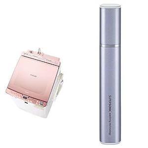 シャープ SHARP タテ型洗濯乾燥機 ガラストップ ダイヤカット穴なし槽 ピンク系 ES-PX8C-P 超音波ウォッシャー バイオレット系 セット