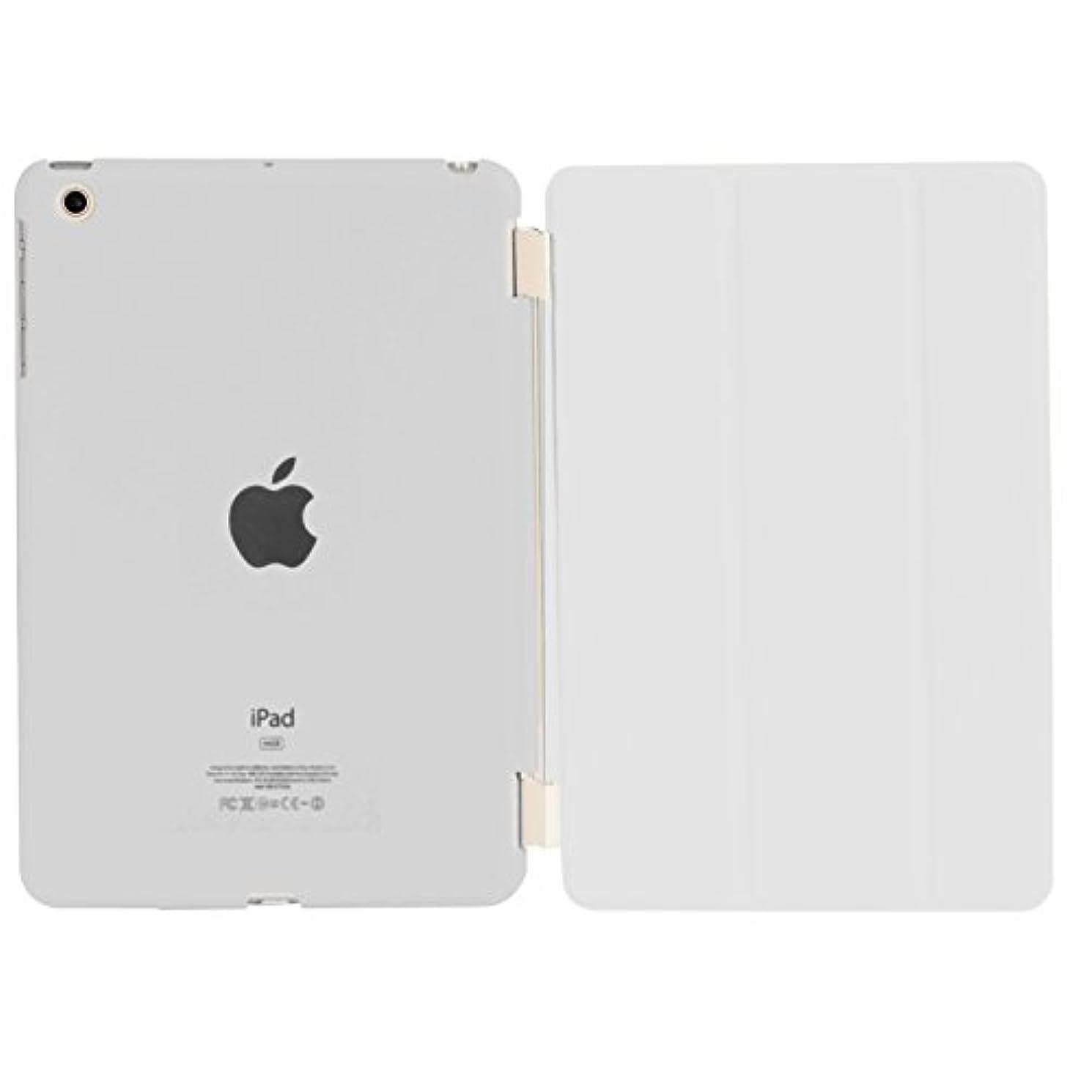 真面目なサルベージ監督するiPad mini3 / iPad mini2 / iPad mini 超薄型 スタンド仕様 マグネット スマート式 レザー ケース カバー と半透明プラスティック製 バックケース 液晶保護フィルム付き ホワイト