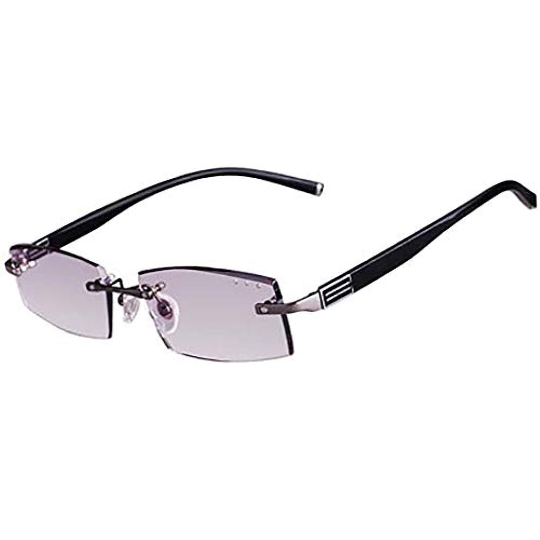 反青の光 老眼鏡 人のため,紫外線保護 フレームレスの読者 樹脂レンズ 快適なフィット感 黒の眼鏡ケースと-C +2.0