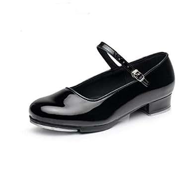 レディース タップダンス 靴 ブラック エナメル ストラップ ベルト タップシューズ ダンス ヒール シューズ 女性 婦人 く (22.0cm)