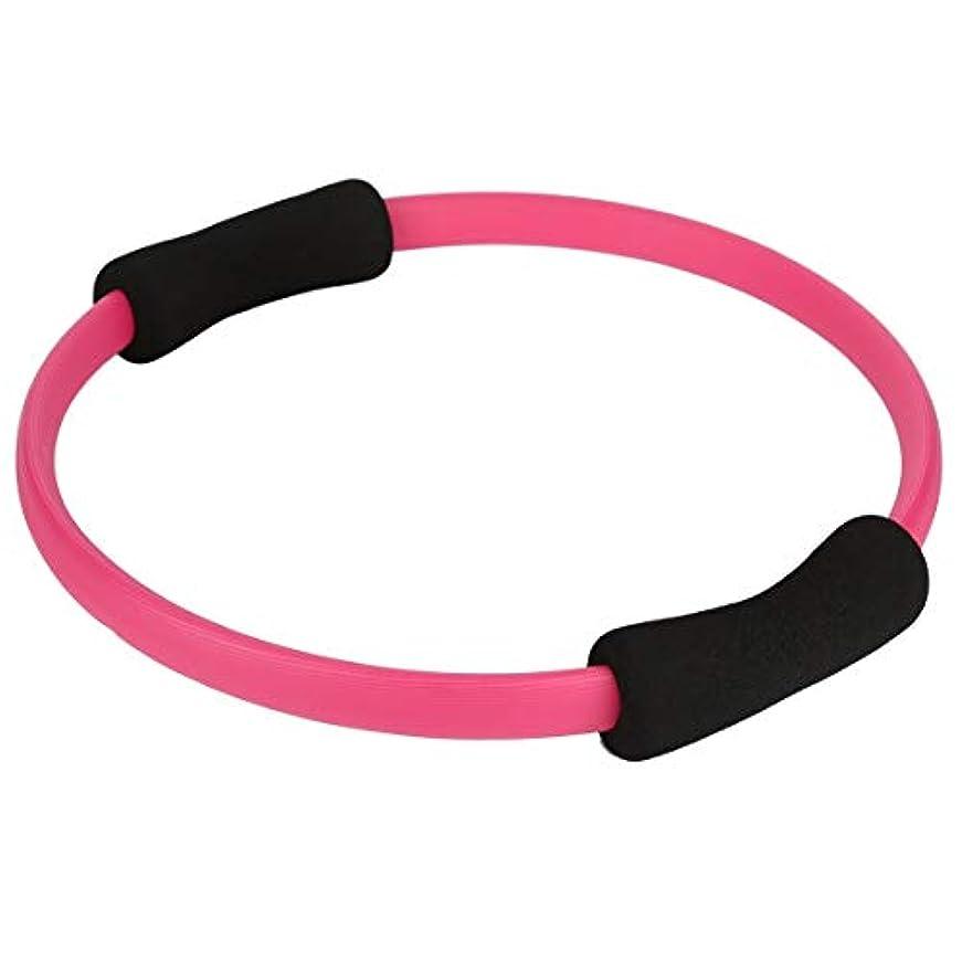 それる昨日健康的マッサージループピラティスリングマジックサークルデュアルグリップスポーツ用品ピラティスヨガリングボディルーズウェイトエクササイズフィットネス機器-ピンク