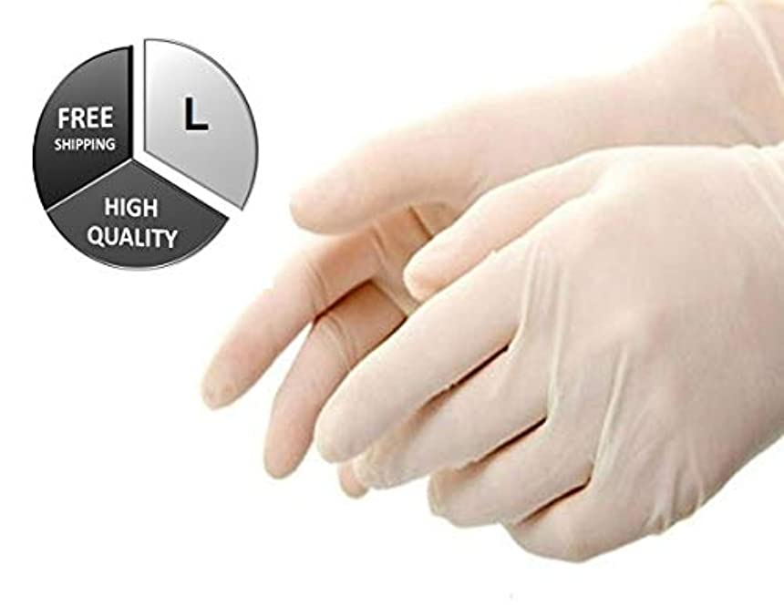収益フラフープリハーサル100/BOX LATEX DISPOSABLE GLOVES POWDER-FREE NON-MEDICAL SIZE-LARGE 4 MIL THICK by SHIELD GLOVES