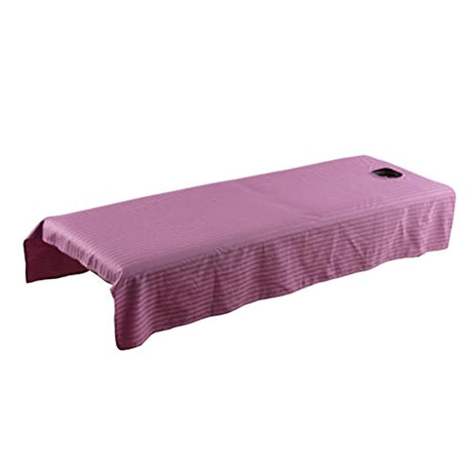 震えローブ探検マッサージベッドカバー 有孔 スパベッドカバー マッサージテーブル シート 全5カラー - 紫の