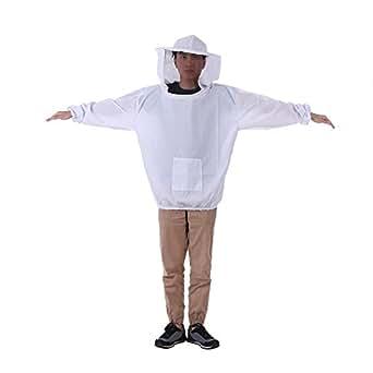 Decdeal 養蜂ジャケット ベール 養蜂帽子 スモック 防護服キット ワンサイズ