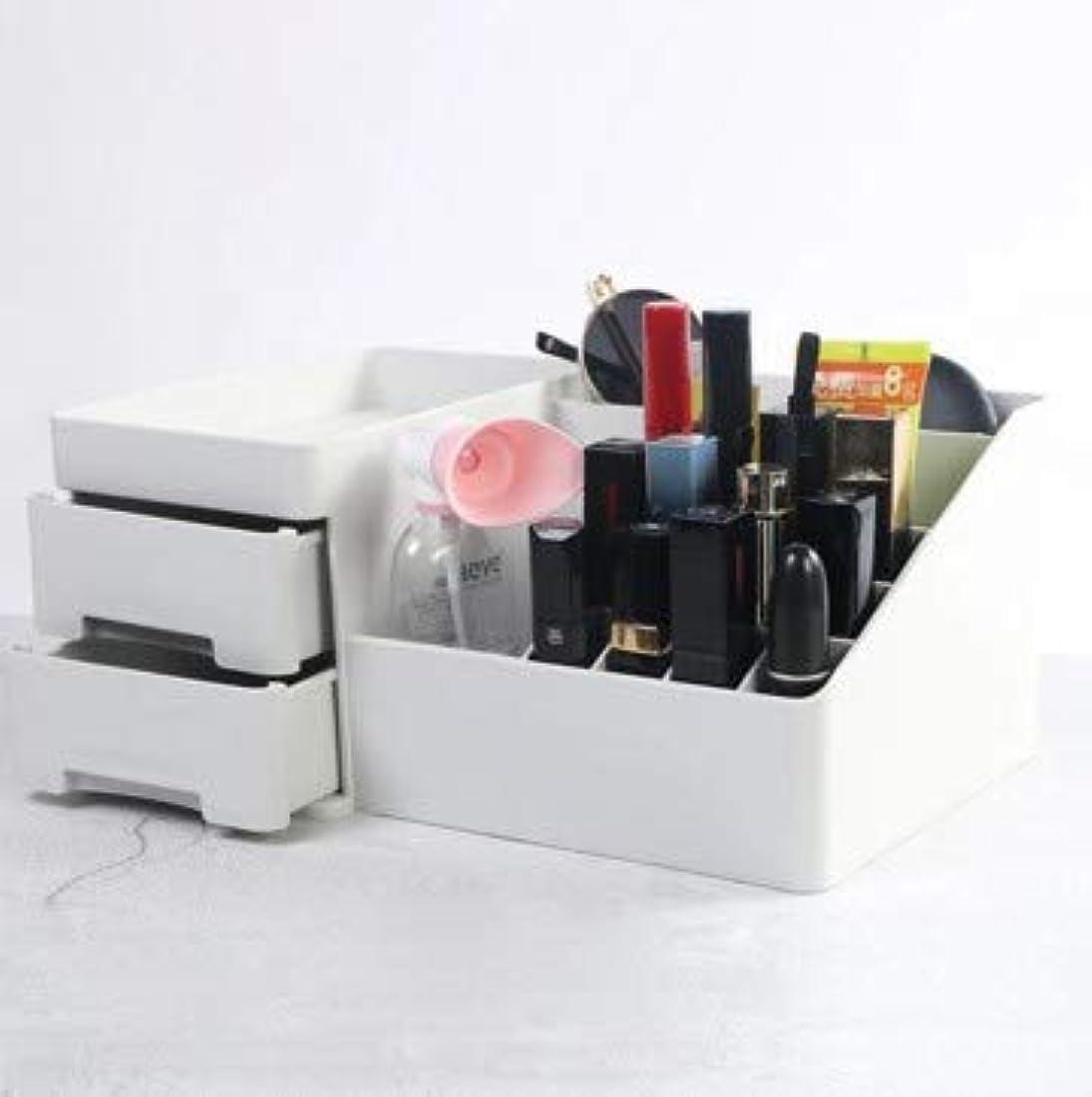デスクトップ引き出し型化粧品収納ボックスプラスチックドレッシング収納ホーム収納ボックス (Color : グレー)
