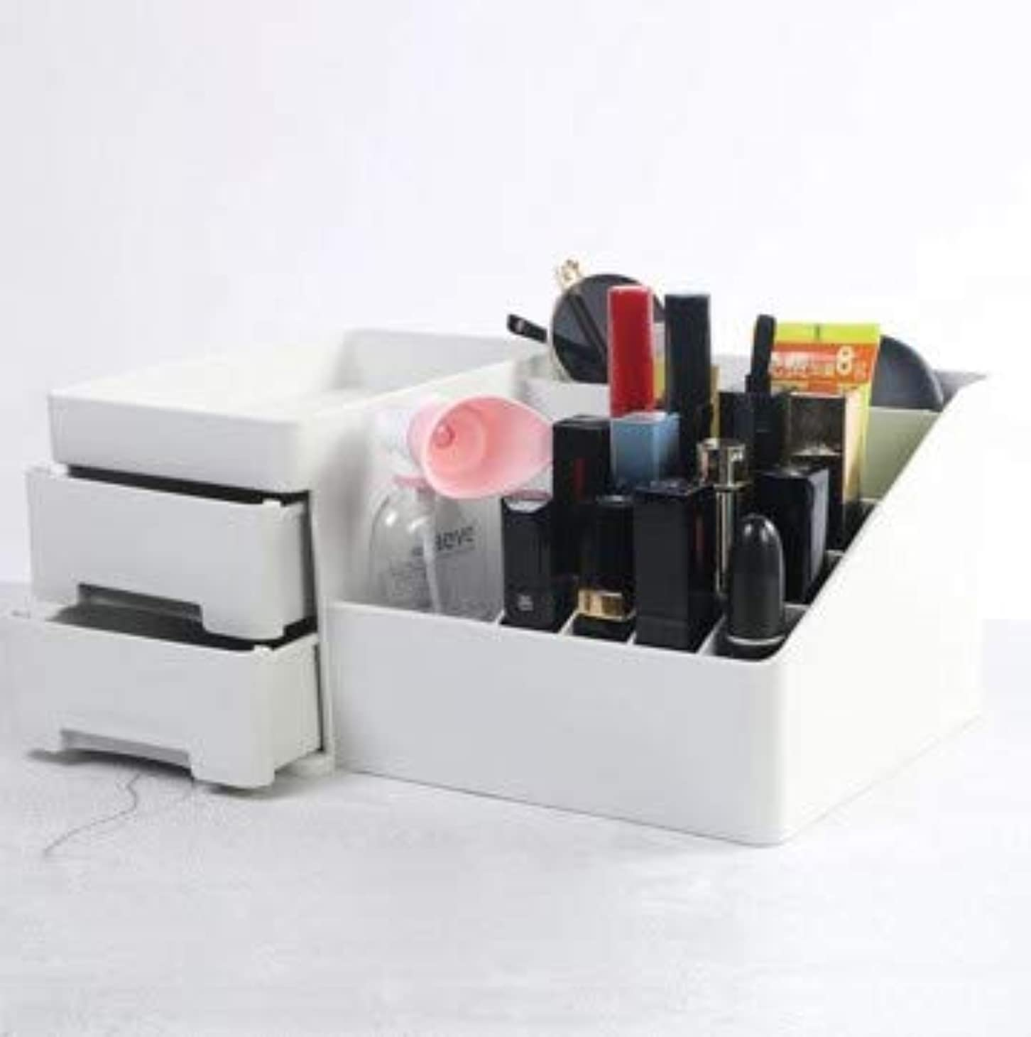 理論的自発スカープデスクトップ引き出し型化粧品収納ボックスプラスチックドレッシング収納ホーム収納ボックス (Color : グレー)