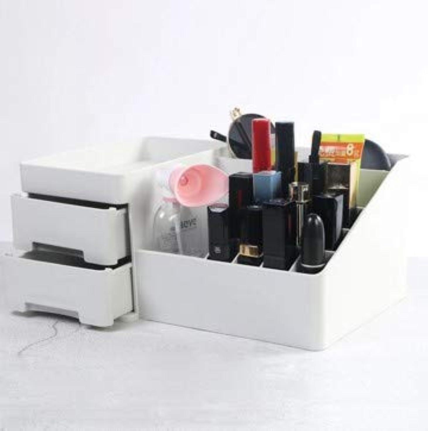 あごダイヤル小川デスクトップ引き出し型化粧品収納ボックスプラスチックドレッシング収納ホーム収納ボックス (Color : グレー)