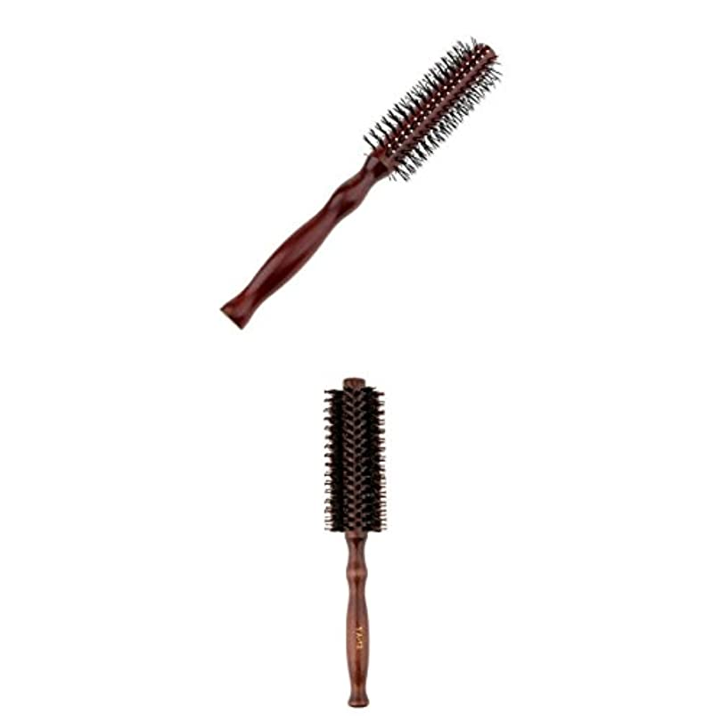 報奨金壮大な刺激する2点 カーリングヘアコーム ラウンドヘアブラシ ウッドハンドル 理髪 美容 ヘアブラシ