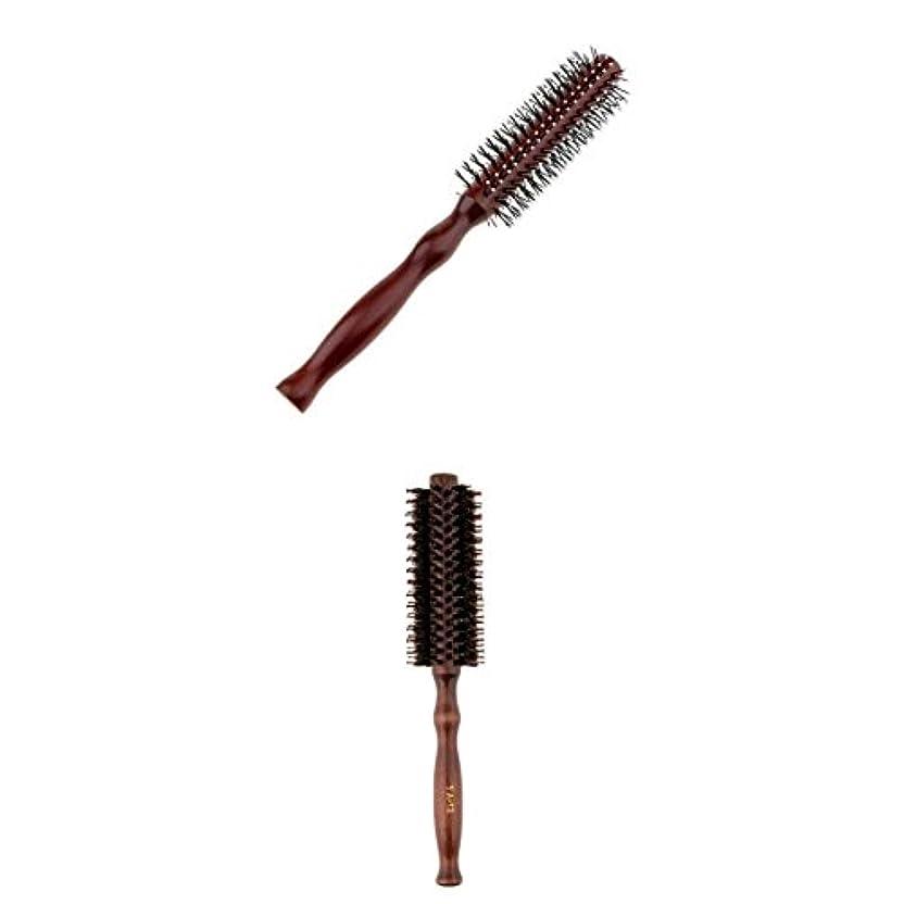 解放遠えに変わる2点 カーリングヘアコーム ラウンドヘアブラシ ウッドハンドル 理髪 美容 ヘアブラシ