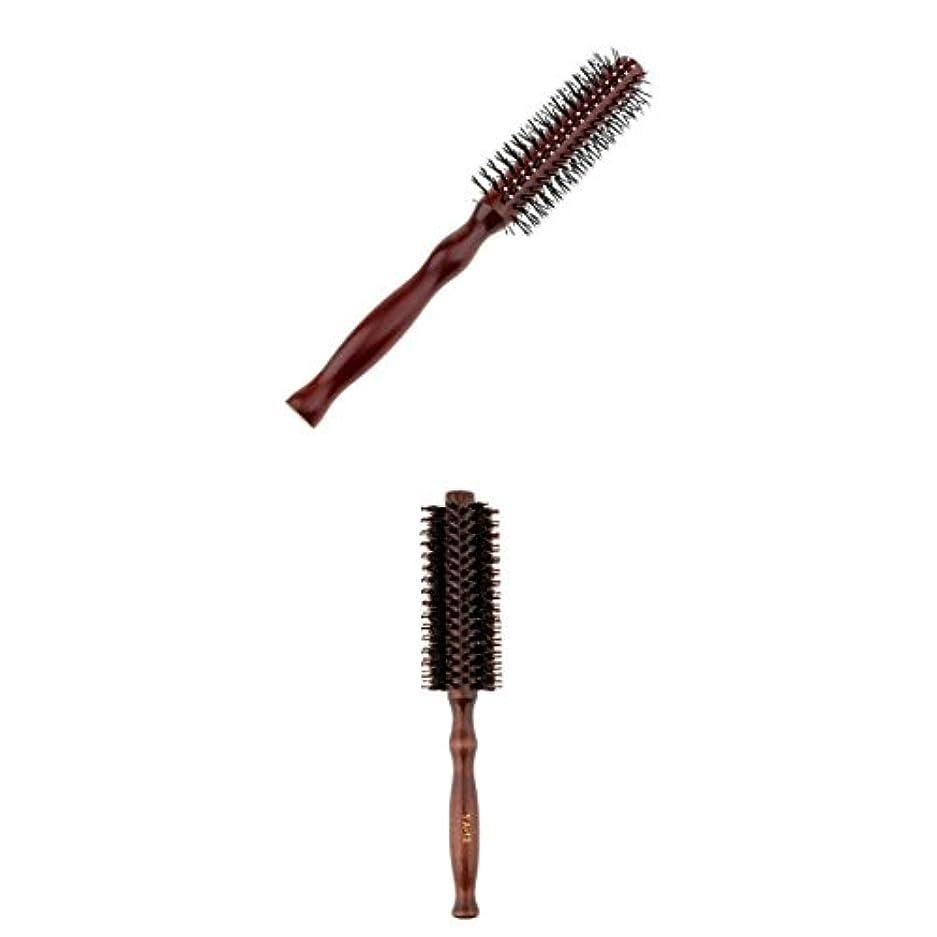 ストライプ目指す作動するPerfeclan 2点 カーリングヘアコーム ラウンドヘアブラシ ウッドハンドル 理髪 美容 ヘアブラシ