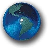 Blue Earth大理石とグリーン大陸、リサイクルガラス、5 in Aポーチ、半分インチ直径