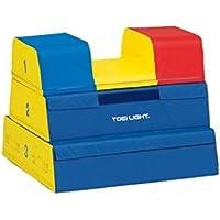 TOEI LIGHT(トーエイライト) TOEI LIGHT(トーエイライト) ソフト閉脚跳び箱3段 下幅75(上幅35)×奥行80×高さ60cm 3段 各段裏面すべり止め加工 T1839 T1839