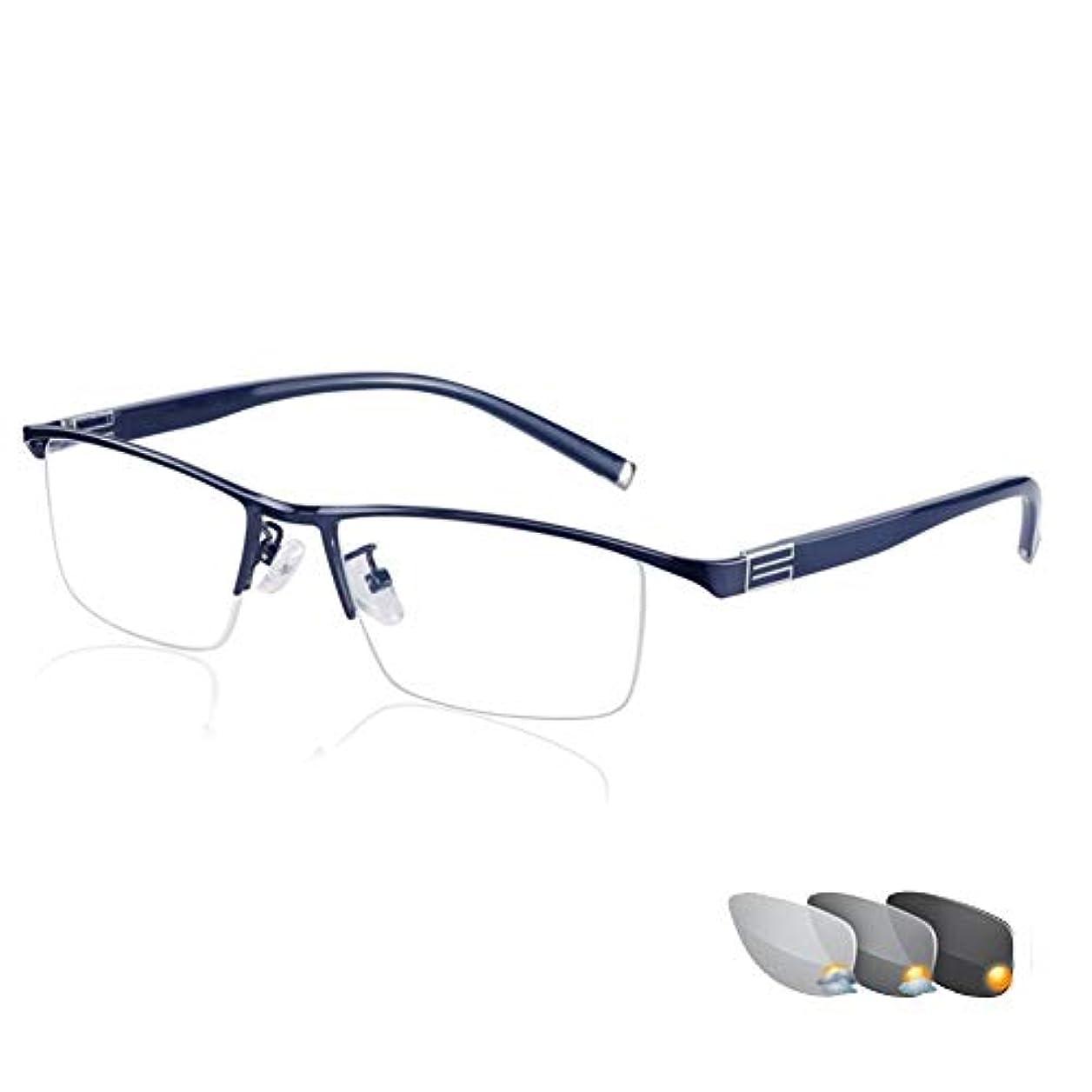 インテリジェントフォトクロミック老眼鏡、多焦点度数累進メガネ付き調節可能ビジョン、軽量および薄型非球面レンズ、スタイリッシュなビジネスの快適性