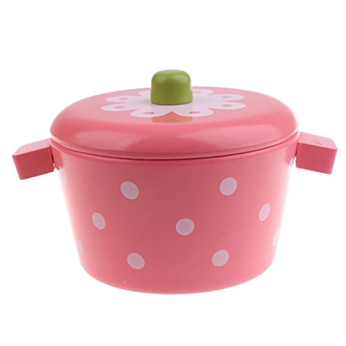 国バスずっと木製鍋/魚/サンデー/アイスキャンデー子供子供キッチン料理ふりプレイおもちゃ - ミニスチーポット
