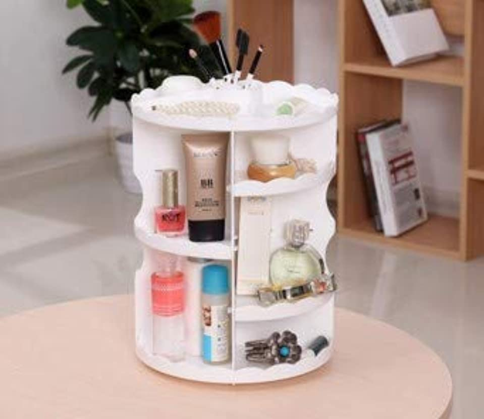 慈善に関してクローゼット化粧品収納ボックスプラスチックデスクトップクリエイティブ家庭用化粧台仕上げ回転化粧品収納ラック (Color : ホワイト)