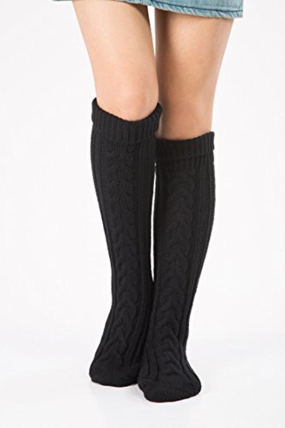 もつれスロー花輪Hezhipu 暖かいニットの脚カバー 靴下 クリスマスソックス 膝の上にセットされたウールのクリスマスブーツ斜めの8ワードツイストフロアソックス ストッキング ブラック