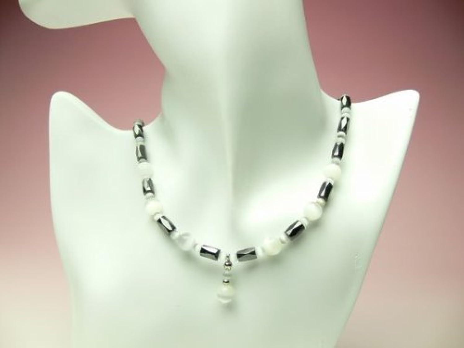 染料先史時代のぶどうオリジナル強力磁気ネックレス?ホワイト 48センチ