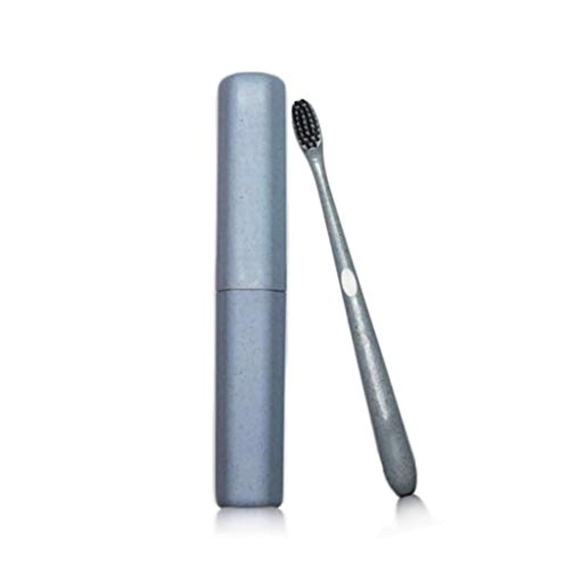 歯ブラシ大人のチューブ歯ブラシ特別なソフト竹炭ワイヤーカップル小さな頭の歯ブラシカスタムトラベル小麦麦わらの歯ブラシ (色 : 青, サイズ さいず : 40pcs)