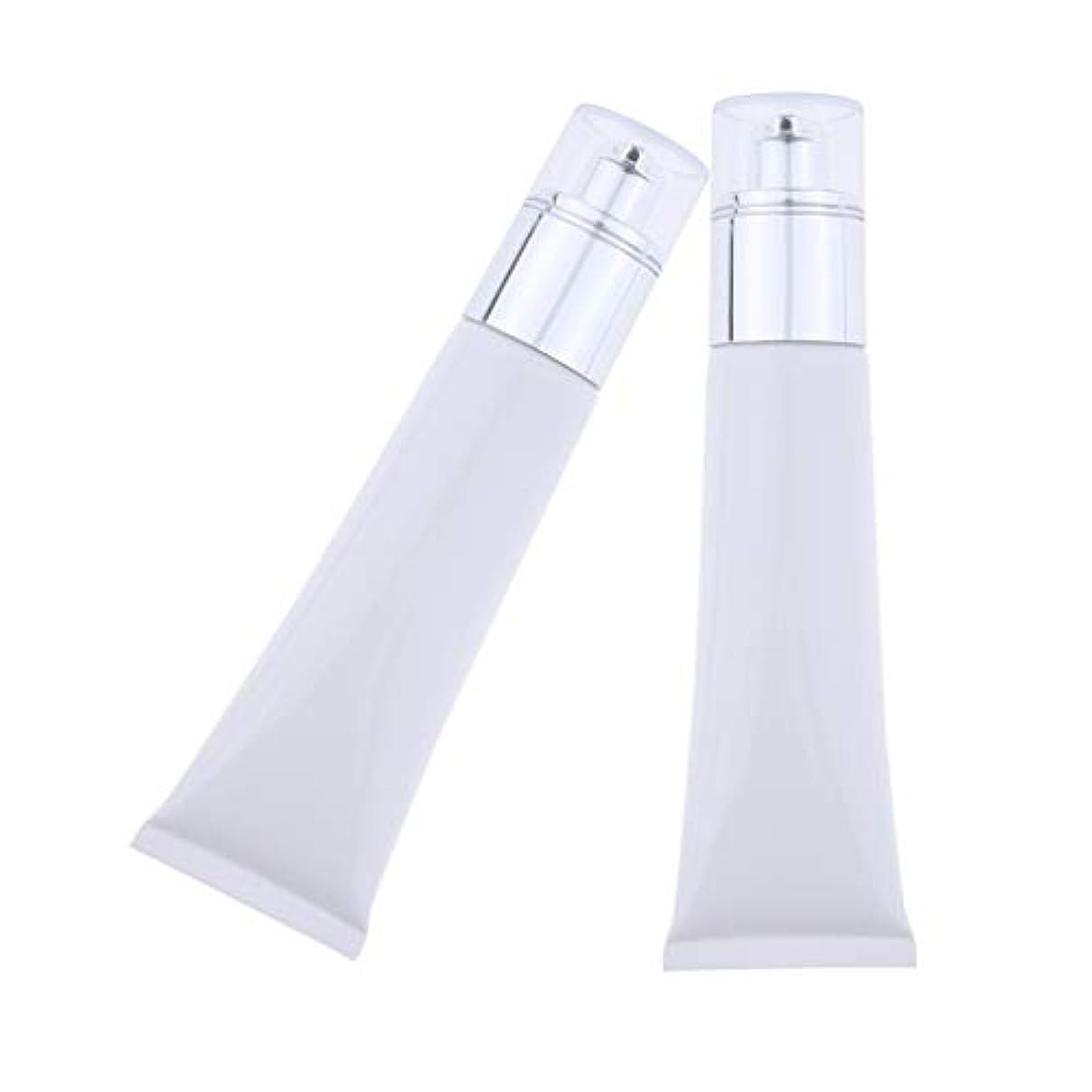 バイソン意志超音速Hellery 空のチューブ ポンプボトル 50ミリリットル 小分け容器 持ち運び用 携帯 コスメ 全3色 - 白