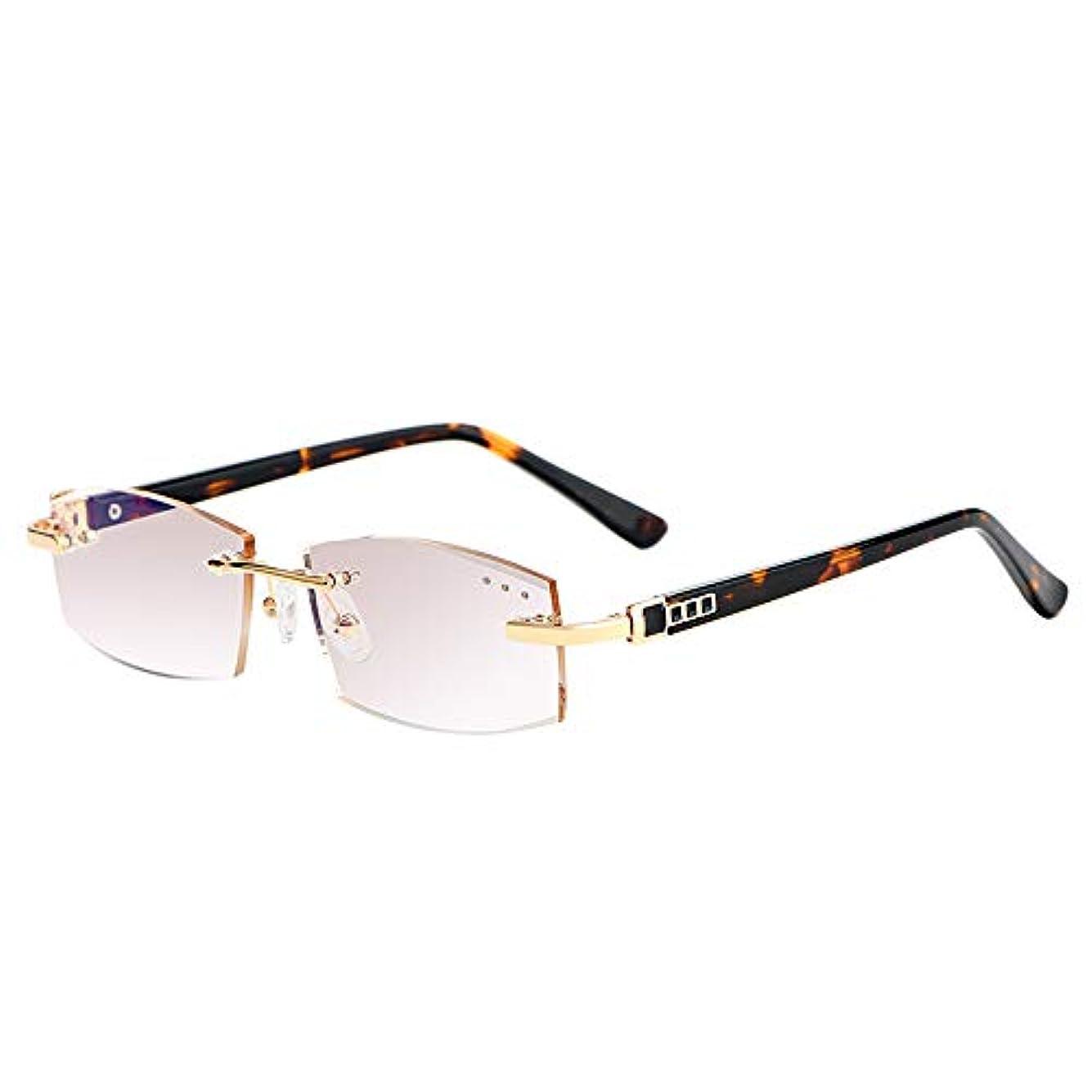 アンチブルー老眼鏡、高精細UV紫外線防止フレームレス超軽量老眼鏡、メンズポータブル老眼鏡