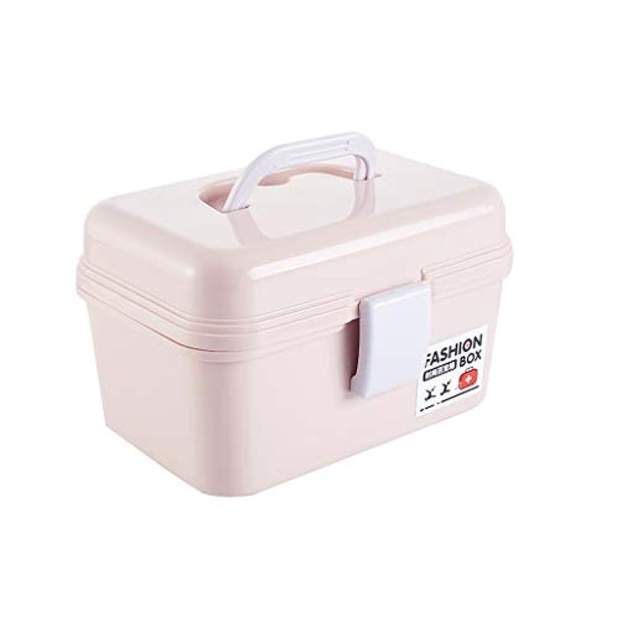 はさみ苦痛ホールドYYFRB 家族用の予備の薬箱、多層の薬の収納箱、家族用救急箱 医学パッケージ (Color : Pink)