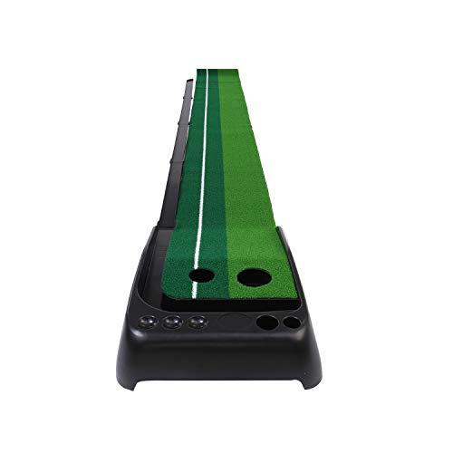OUTAD ゴルフ パター練習 マット ボールが帰ってくる 【3mサイズ】 2種類のタッチ 自動返球 人工芝