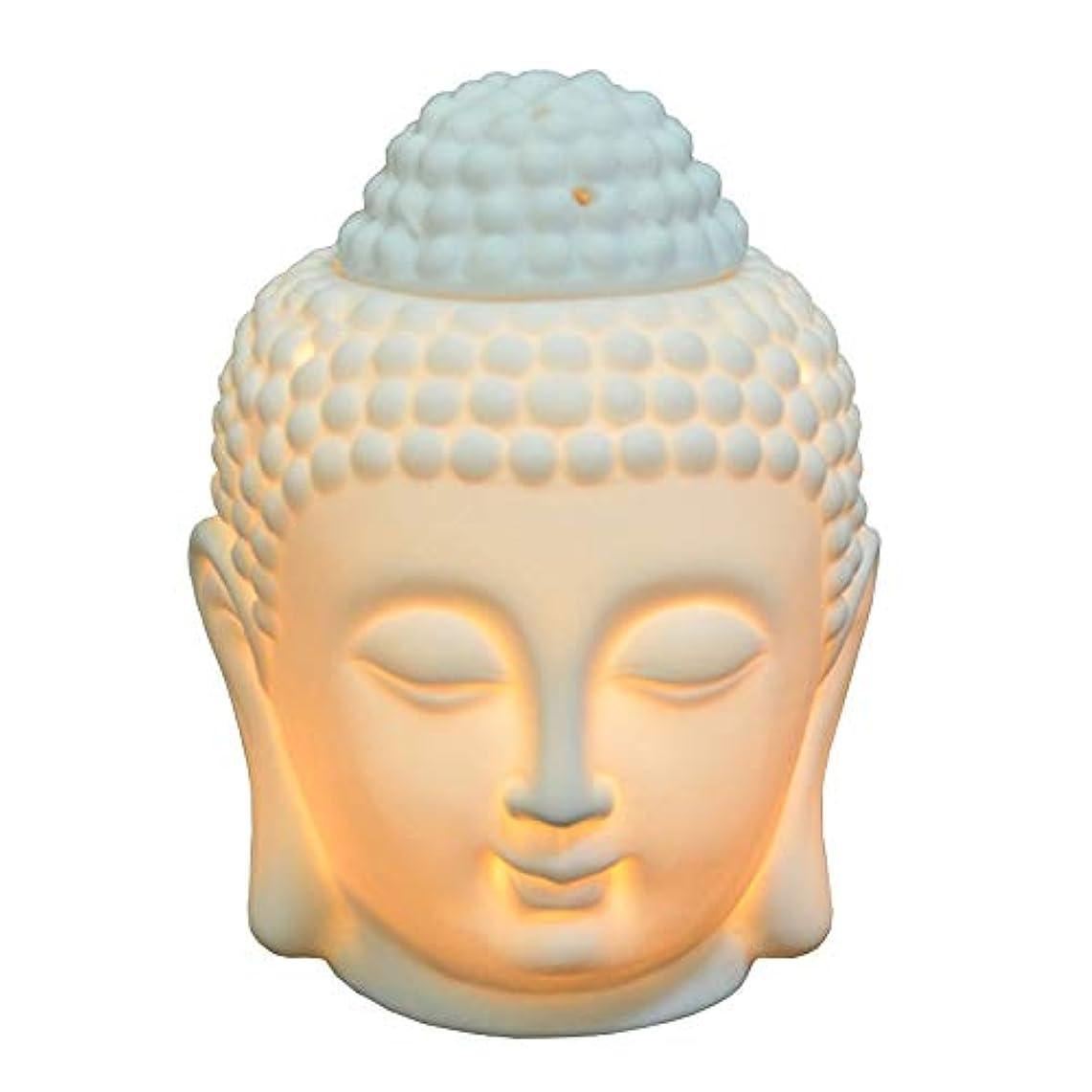 ひそかに受け入れるさまよう仏頭像オイルバーナー半透明セラミックアロマディフューザー家の装飾