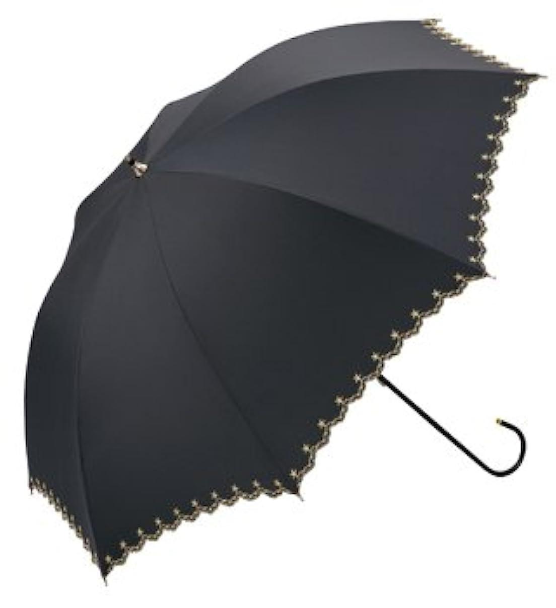 服を片付けるオリエント自発w.p.c晴雨兼用長日傘★遮光星柄スカラップ (ブラック)